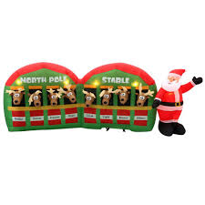 Lighted Santa Sleigh Reindeer Set by Home Accents Holiday 11 Ft Inflatable Santa With Reindeer In