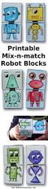 printable mix n match robot blocks mix n match kid and robots