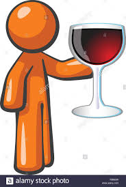 cartoon wine glass orange person holding large glass of red wine attention given to