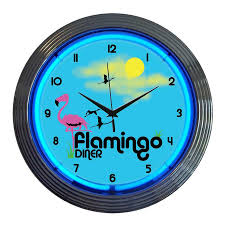 shop neonetics flamingo diner analog round indoor wall clock at
