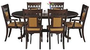 six seater dining table royal oak angel six seater dining table set walnut amazon in