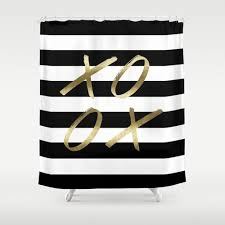 Shower Curtain Striped Black And White Stripe Shower Xoxo Gold Shower Curtain