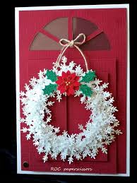 Red And White Christmas Door Decorations by White Wreath On Red Roc Paper Scissors