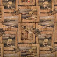 rustic cabin outdoors themed tapestry upholstery fabric by the yard