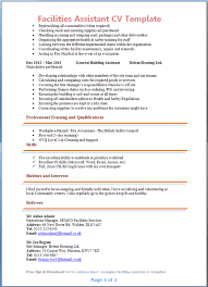 Hobbies And Interests On Resume Examples by Facilities Assistant Cv Template Tips And Download U2013 Cv Plaza