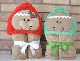gingerbread boy or hooded towels christmas towels christmas