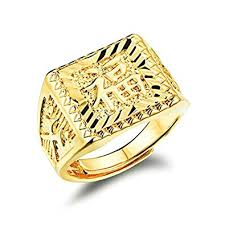mens gold ring mens gold plated rectangle ring blessing in character