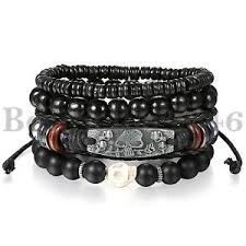 black bead bracelet ebay images Men black bead bracelet ebay JPG