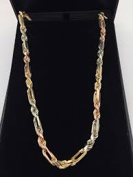 figaro mens necklace images Men 39 s 10k tri color solid gold 24 quot milano figaro rope chain JPG
