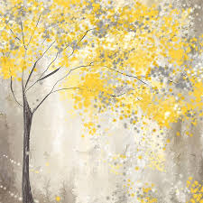 yellow and grey home decor yellow and gray tree painting by lourry legarde