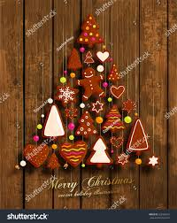 christmas tree christmas cookies set gingerbread stock vector