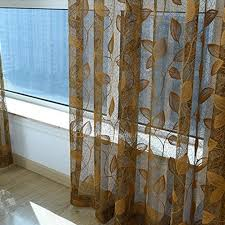 Leaf Pattern Curtains Gold Sheer Curtains Window Treatments With Sheers Semi Sheer