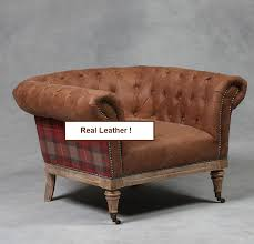 Tartan Armchairs St Andrews Brown Leather And Tartan Arm Chair