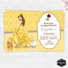 Invitation Cards For Birthday Party Printable Beauty And The Beast Printable Birthday Card Birthday Party