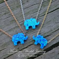 blue opal reconstitute blue opal baby elephant necklace good luck