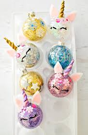 hello wonderful diy glitter unicorn ornaments