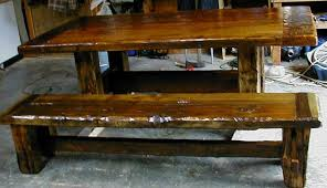 Wood Kitchen Table With Bench And Chairs Custom Made Rustic Barnwood Furniture Plank Dining Table Custom