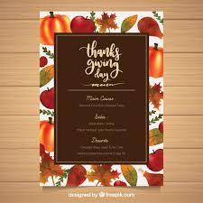 thanksgiving menu template with food vector free