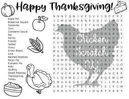thanksgiving word search chicken scratch ny