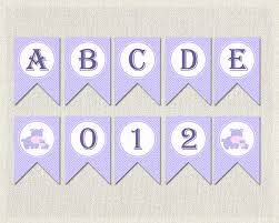 printable alphabet bunting banner whole alphabet banner purple lilac baby shower banner bunting happy