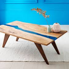 river resin elm coffee table on walnut base craftsman resin and