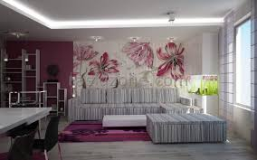 outstanding living room with entrancing floral wall paint design