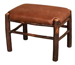 rustic hickory fireside upholstered footstool