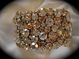 rose gold crystal bracelet images Rose gold tone swarovski crystal cuff bracelet wedding cuff jpg