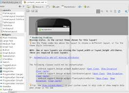 android missing layout width android studio 1 5 rendering problems class could not be