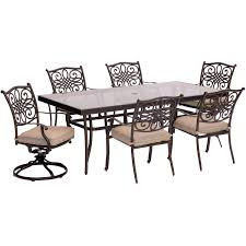 Extra Large Dining Room Tables Traditions 7 Piece Dining Set In Tan With Extra Large Glass Top