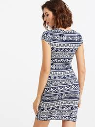 aztec print form fitting dress shein sheinside