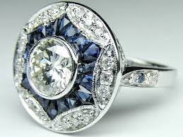 engagement ring art deco engagement ring blue sapphire u0026 diamonds