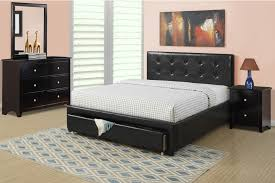 Black Platform Bed Queen Poundex F9313 Black Platform Storage Queen Bed Set