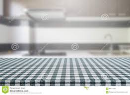 Kitchen Table Close Up Empty Table With Tablecloth And Blurred Kitchen Background