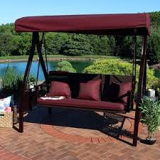 abba patio 3 seat outdoor polyester canopy porch swing hammock