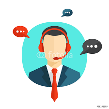 technical support flat illustration male call center operator technical support flat illustration male call center operator avatar icon a faceless man wearing headsets colorful