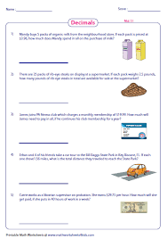 decimal word problems worksheets