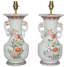 Porcelain Elephant Pair Of Japanese Imari Vases Turned Lamps With Elephant Handles At