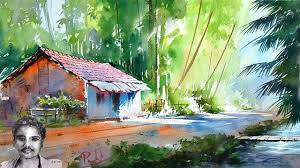 scenery drawing with watercolor painting for beginners youtube