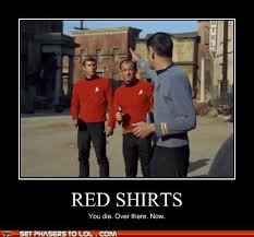 Red Shirt Star Trek Meme - why you should never wear the red shirt the old gray cat