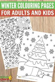 winter colouring pages adults kids