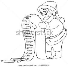 outlined santa claus reading long christmas stock vector 506588272