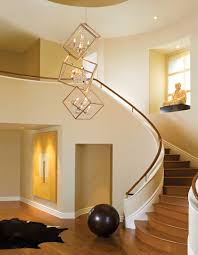 interior modern 2 story entryway lighting design with unique