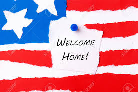 A American Flag Pictures Welcome Home Note On An American Flag Background Stock Photo