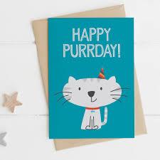 funny cat birthday card happy purrday by wink design