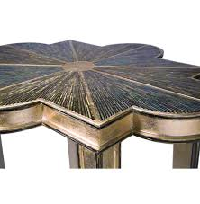 Quatrefoil Side Table Portman Regency Abalone Shell Chagne Quatrefoil Side
