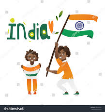 Indian Flag Cake Two Boys Kids Teenagers Indian Flags Stock Vector 687448435