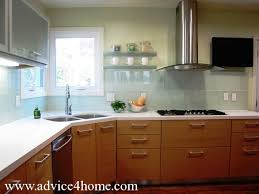 kitchen without upper wall cabinets wall tiles glass shelves glass faces upper cabinets and glass hood