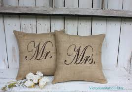 mr and mrs pillow mr and mrs burlap pillow set by victorianstation on etsy 69 00