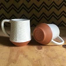 Modern Coffee Mugs Large Ceramic Mug Carved Terracotta Jumbo Mug Red Clay Mug